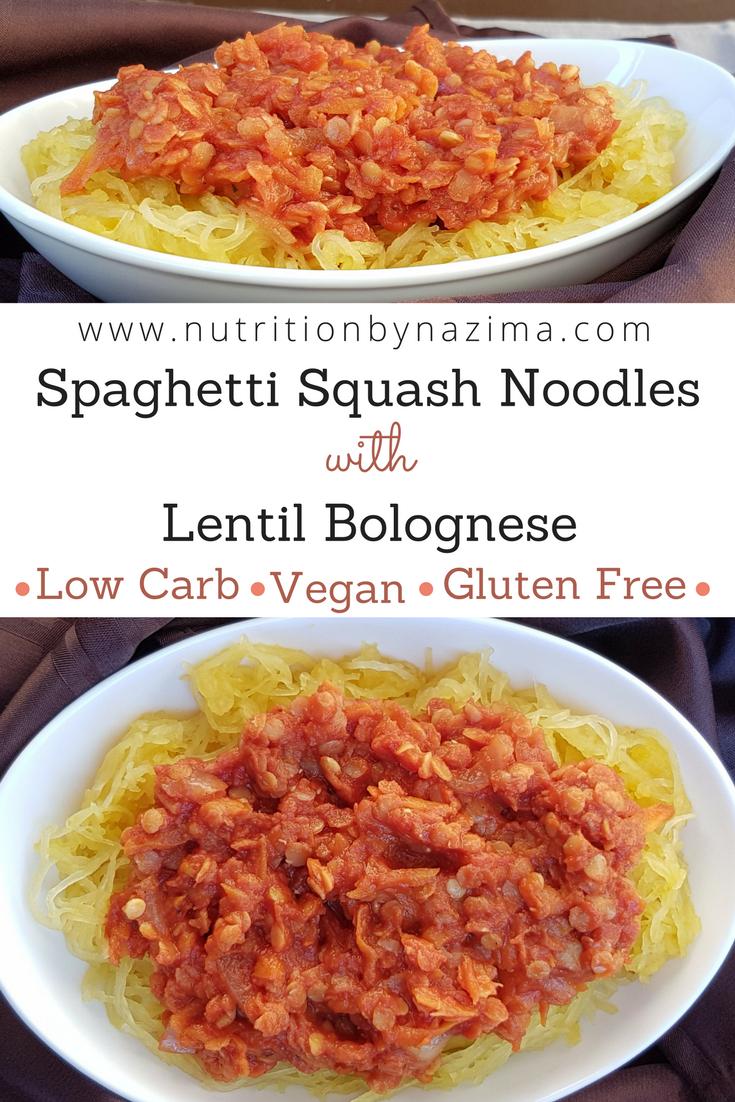 Spaghetti Squash Noodles with Lentil Bolognese