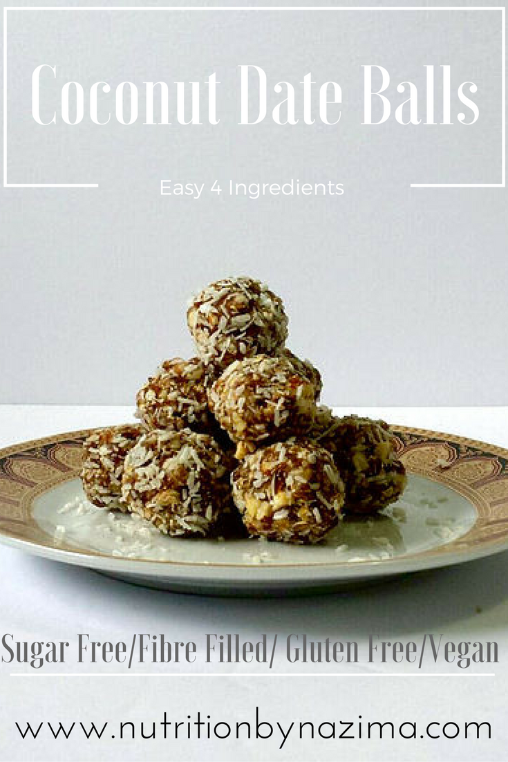 Easy 4 Ingredient Coconut Date Balls