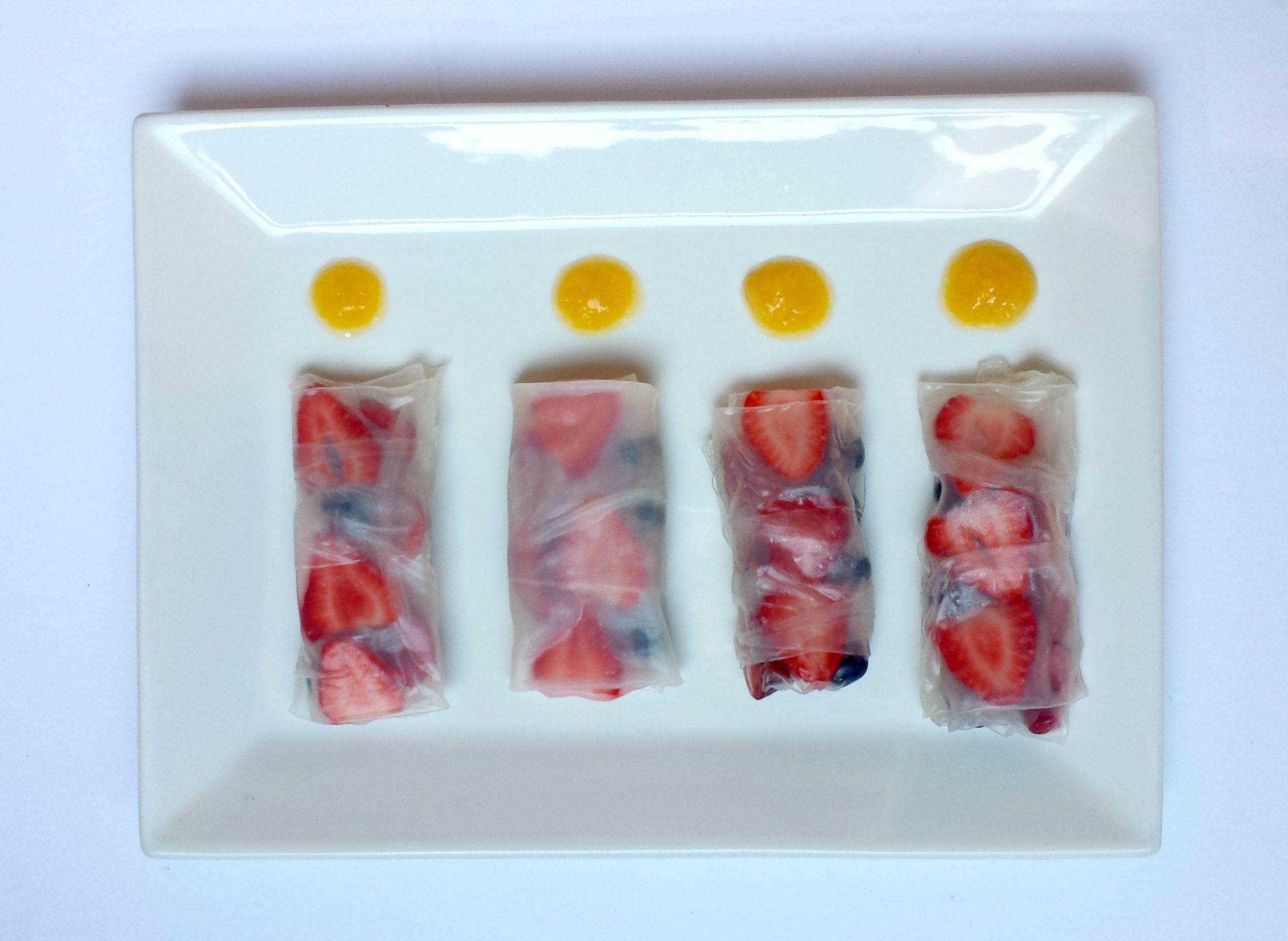 Fresh Fruit Rolls with Peach Sauce