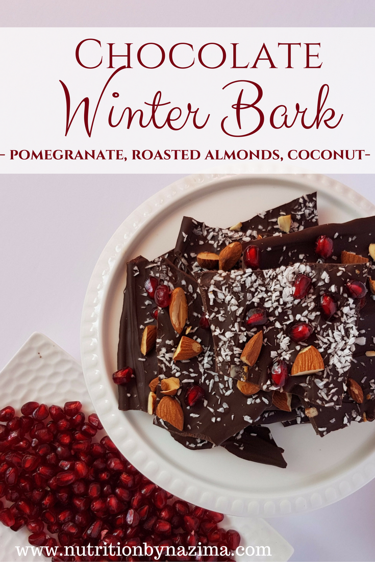 Chocolate Winter Bark – Pomegranate, Coconut, and Roasted Almonds