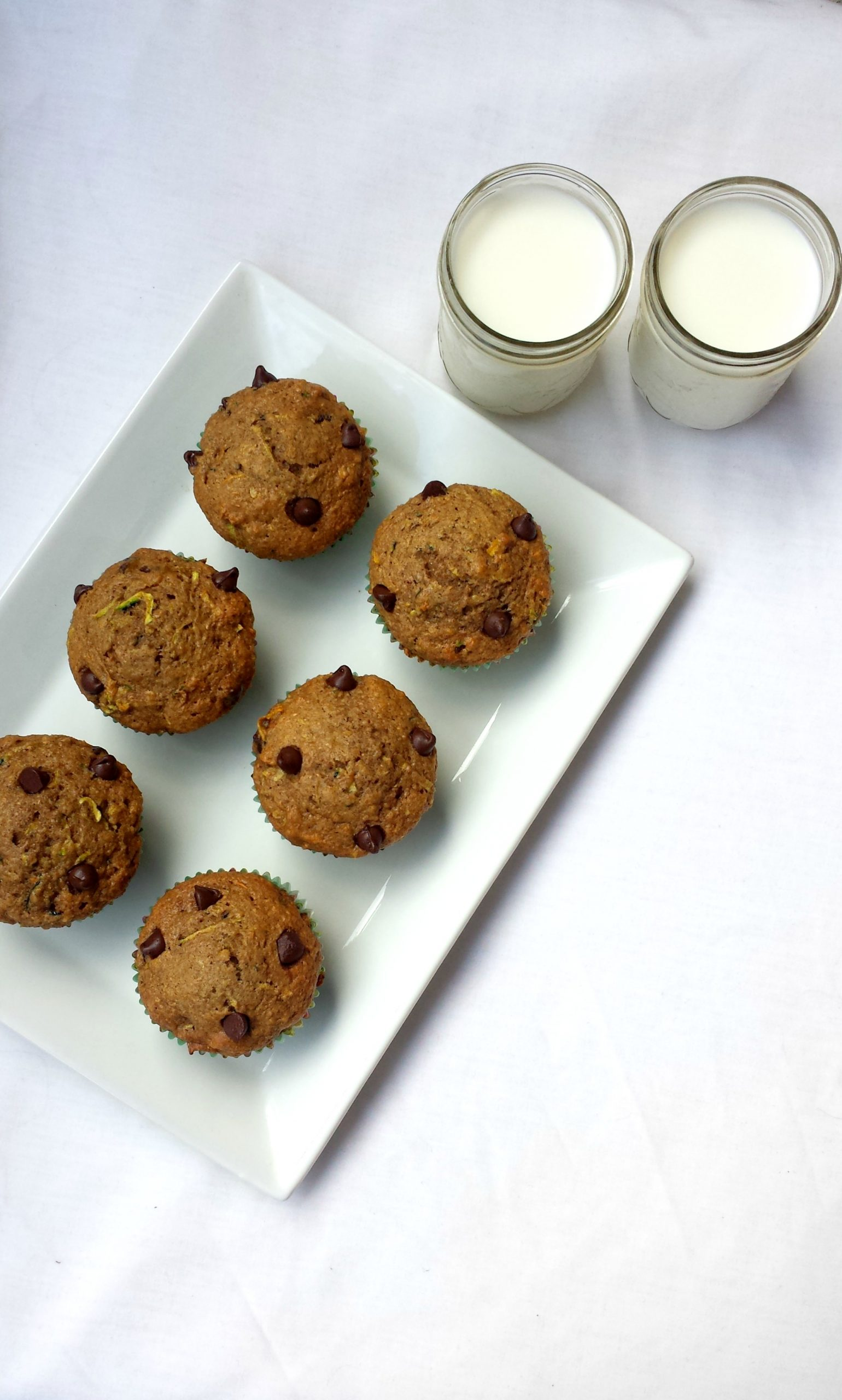 Whole Grain Chocolate Chip Zucchini Muffins
