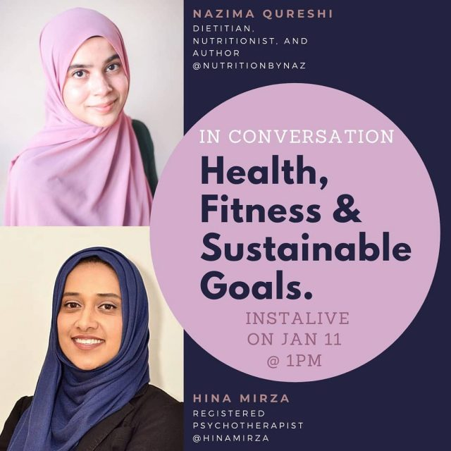Join @hinamirza and I at 1PM today! Not only is @hinamirza a very talented Psychotherapist, but has also been working with me over the past couple of months to work towards her health goals.  Join us today as we talk about how you can make it easier to work towards your health goals and hear more about Hina's experience working with me.  Looking forward to seeing many of you there!