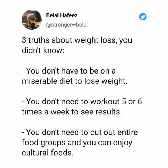 There are lots of misconception that exist regarding weight loss. Here I focus on these three because of how common they are.   Believe it or not you can actually enjoy your food and still lose weight. You don't need to go on some crazy detox or feel miserable just to lose weight.   The key is calorie deficit. So as long as you lower your daily caloric intake, you will lose weight. But that doesn't mean you ignore your veggies and other healthy options because your health is still key.   You also don't need to workout everyday or multiple times in a day. If your schedule allows you to workout more then 3 or 4 times, then awesome go for it. But most people can't fit that many in to their schedule and that's ok. 3 workouts of 45mins to hour is sufficient to see results.   And last but never least, stop avoiding your cultural foods. Yes, there are some foods you should limit to cheat meals or special occasions. However, rice and bread is not one of them. Most of our cultures are built on food, so you won't last long is you continue to vilify entire food groups.   You can eat carbohydrates and lose weight. Research upon research has shown it time and time again. Also, our clients are living proof as well. Heck so am I... I love rice and eat it everyday.   Imagine being able to enjoy yourself and still lose weight... Mind blowing eh...   What's another misconception you've heard in the past that isn't true?  . . . . . #muslimfit #fitmuslim #muslim #ramadanprep #healthyramadan #healthyRamadanguide #muslimtrendy #muslimworld #halalthings #muslimgram #muslimig #halalgram #muslimbanter #muslimsoftheworld #islamworld #fitmuslimah #muslimweightloss #halalweightloss #ummah #ummati #muslimlegacy #halal #muslims #halalfood