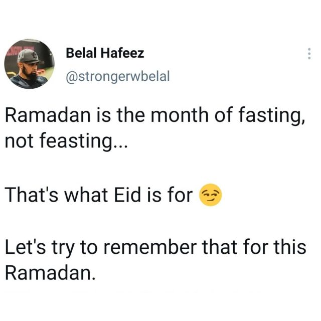 Unfortunately Ramadan very quickly becomes the month of feasting as opposed to the month of fasting.  It's not always easy to say no, but teaching ourselves to say no will not only benefit us physically but spiritually as well. Especially living in a time of instant gratification and constantly being told to follow our desires, it can be very difficult.  But through the difficulties comes great victories. We can use Ramadan as training, to teach us to continue to be strong well after Ramadan. At no other times of the year are we told not to eat or drink for long periods of time. So why not take full advantage of this time and build strong habits.  Ramadan has so many blessings with it, one of them can be fighting our desires. And yes, food is a desire... One that can very harmful if we are not mindful.  So this Ramadan, try remembering the true essence of fasting as Iftar time rolls around.  . . . . . #ramadan #ramadanprep #ramadanready #ramadan2021 #ramadangoals #ramadanmubarak #ramadanKareem #healthymuslims #muslimhealth #muslimfitness #fitmuslimah #muslim #muslims #islam #islamicpost #ramadanmindset #ramadangoals #muslimcoach #muslimah #ramadanpreparation #halal #ummah #alhamdulillah #bismillah