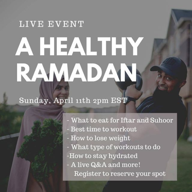 Join us this Sunday for a free live virtual event! We will be covering all things related to how to have a healthier and more energized Ramadan! Sign up at the link in bio!