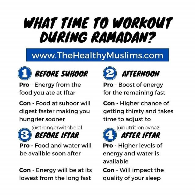 """The most common question I receive every year, what time is the best time to workout.  To be honest there is no real """"best time"""", it's whatever times is easy on your schedule.  Note, it's just numbered based on times not which is best.  1. Before suhoor - This can be right before eating suhoor or a few hours before.  Some are able to make a nocturnal schedule. So they stay up all night and then sleep after Fajr. The good is that you have food and water available to you. The problem lies primarily with your sleep. Day sleep will never replace night sleep. The quality of your sleep and overall health can be negatively affected by this time. Our sleep is already affected during Ramadan, this can add to it.  2. Afternoon - Right after zhur.  This time takes the most getting used to. It's also not available for most because of work. However, working out during this time will give you a boost of energy for the remaining half of the fast. It's my go to time during Ramadan.  3. Before Iftar - The most popular one  The great thing about this time is having food and water available to you soon after the workout. However, it's also the time you have least amount of energy from the long fast. It's also a time most will dedicate towards ibaadah.  4. After Iftar - Usually an hour or so after eating  Usually this time isn't ideal because of taraweeh. But because of covid most won't have any long taraweeh and this time becomes available. However, it can affect your sleep, as it gets tough to fall asleep after a workout. However, you will have food and water available.  As you will note, each time has a positive and a negative. It comes down to when the best time is for you.  Take the first few days to figure it out and keep your schedule in mind. Even the best program in the world is useless if you are not consistent. And you won't be consistent if it doesn't fit your schedule.  What's your go to time?? . . . . #ramadan #ramadanprep #ramadanready #ramadan2021 #ramadangoals #ramadan"""