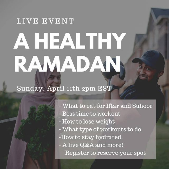 Tomorrow at 2pm EST time!  Register, attend and you'll be entered in for a chance to win a copy of The Healthy Ramadan Guide. 3 people will be chosen as winners  We'll also do a full Q&A at the end to answer any questions you may have.  Register with the link in bio or go to Thehealthymuslims.com/healthy-ramadan   Are you going to join us? . . . . . #ramadan #ramadanprep #ramadanready #ramadan2021 #ramadangoals #ramadanmubarak #ramadanKareem #ramadankareem #ramadanvibes #ramadanworkout #islamicinspiration #fasting #healthyramadan #thehealthymuslims #ramadanworkout #ramadanrecipes #ramadannutrition #ramadanfood #muslimgram #instamuslim #muslim #muslima #islam #islamicpost #ramadanevent #iftar #suhoor #sehri #bismillah