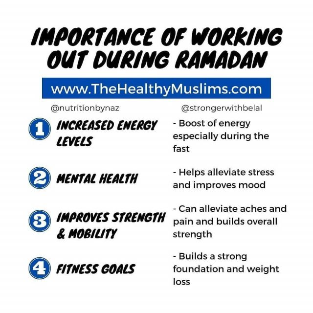 There are many be benefits to working out during Ramadan.  I'm just highlighting a few that are important to remember and focus on.  1. Increased Energy Levels  - Believe it or not a workout should actually improve your energy levels. Especially during this month you don't want to drain yourself.  You have lots of time during the year to go all out during a workout. Your workouts during Ramadan will give you a boost of energy.  2. Mental Health  - Working out has a significant impact on our stress and overall mental health. Especially during this month when we are trying to do so much and add extra prayers, it does get a little tough. Your workouts will help take the stress off.  Working out releases a natural hormone called endorphins, which is basically a happy hormone. It get you feeling better which can lead to a better memory and sharper mind.   3. Improves Strength & Mobility  - The last thing you want is to not be able to sit or stand for prayers for long periods of time because your lower back or knee is bothering. Putting focus on improving your mobility and strengthening your core will have a huge impact.  You will notice a difference in your overall strength from a day to day perspective but also be able to get more done.  4. Fitness Goals  - This month is the best time to help build a strong foundation. To take a step back and refocus towards the fundamentals. Working on your stability and movements will make you stronger in the long run.  It will also help you lose weight by burning more calories. Of course what you eat will be key, but your workouts will help significantly.  If you want more details and a full workout program and meal plan. Get your copy of The Healthy Ramadan Guide at Www.TheHealthyMuslims.com/book or link in bio.  No more guess work or searching for answers, just follow along and get the results you've been looking for. . . . . . . #ramadan #ramadangoals #ramadanworkout #suhoor #iftar #ramadanweightloss #ramadan2021 #muslimfitness #f