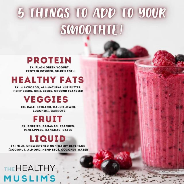 The warm weather calls for Smoothie Season! However, what you add in your smoothie is important, especially if you are swapping it for a main meal.   Save this to remember to add these 5 items for a nourishing and balanced Smoothie.   Check out our latest blog post at the link in bio for a full rundown on how to make your smoothie healthier.  Tag a smoothie lover! . . . #smoothie #breakfast #mealprep #healthytips #healthymuslimah #healthymuslim