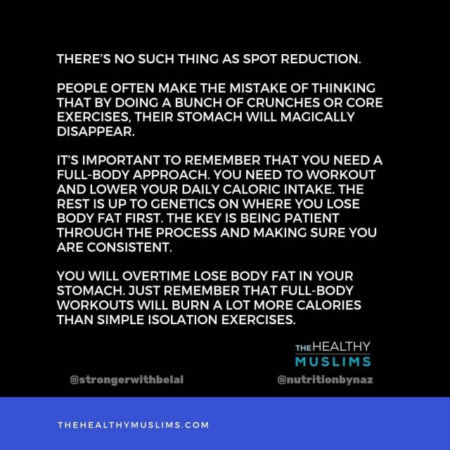 """""""How do I lose my gut"""" is probably the most popular question I get.  Well, unfortunately there's no one exercise that will make your gut disappear. But that doesn't mean it won't, you just need to understand the process.  Lower your caloric intake, meaning eat a little less and workout consistently.  As you are consistent, your bodyfat will decrease and so will your gut over time.  . . . . . . #thehealthymuslims #healthymuslims #muslimhealth #muslimfitness #fitmuslimah #muslimfitnessgoals #muslimcoach #muslimgram #muslimig #instamuslim #fitmuslim #muslimfitness #muslims #müslims #muslimpost #muslimmemes #workout #workouttips #fitgoals #bodyfat #weightlossjourney"""