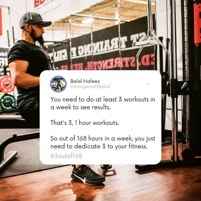 #3outof168  Break it down and stop complicating it. 3 workout days isn't the entire 3 days. It's just 1 hour per each workout day. That's it...   Now this doesn't mean you sit around the rest of the week and do nothing. You still need to add cardio a few times a week. But again, it doesn't need to be complicated. It can be anything from hiking, walking, jogging, biking or even playing sports.   The goal is to raise your level physical activity. Keep it simple and enjoy the process.   It won't consume your week or even change your schedule much. You can even start with 45 minutes at each workout. Just start and keep it simple.   If you need help with accountability, @nutritionbynaz and I always here to help. . . . . . #workout #workouttips #fitmuslim #muslimfit #muslimfitness #ummah#muslim #muslimahfitness #fitmuslimah #muslimfitnessgoals #muslimcoach #muslimgram #muslimig #halalgram #muslimbanter #muslimsoftheworld #islamworld #deen #fitmuslims #instamuslim #muslimtrendz #thehealthymuslims #healthymuslims #muslimhealth #islam #islamicquotes #fitfam #instafit