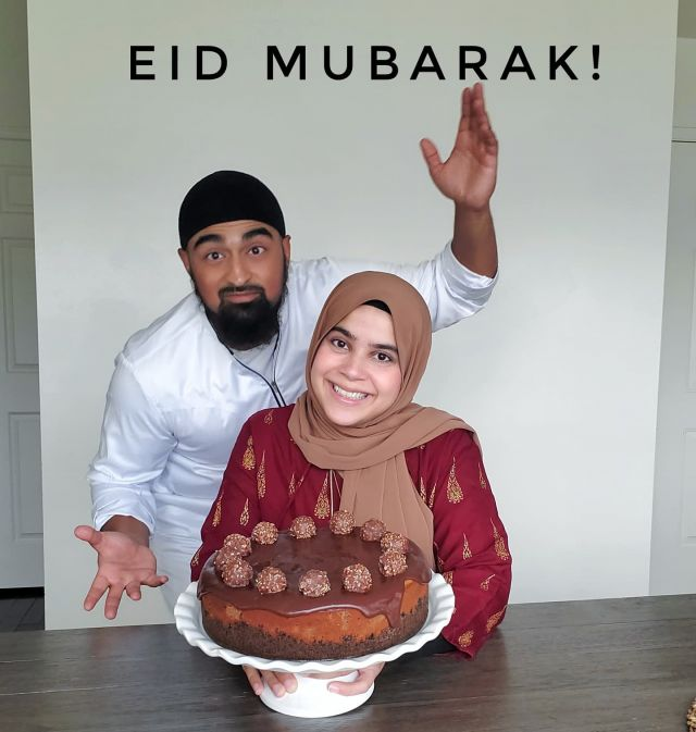 Eid Mubarak from our family to yours! We hope it is filled with sweet treats, love, and blessings ❤.  This year's cheesecake is a classic Nutella Cheesecake topped with Ferrerro Rocher!  #EidMubarak #Eid2021 #Eid #HappyEid #EidulAdha