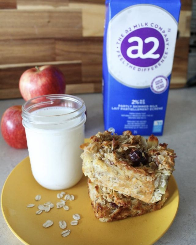 Whether your kids are going to be going to school in-person or virtually, it's time to get back into some sort of routine, especially when it comes to breakfast! My #1 tip is to make nutritious make-ahead breakfasts so that mornings can be a lot smoother, like these Baked Apple Oatmeal Bars!  These Baked Apple Oatmeal Bars are a cross between oatmeal and a granola bar. They have no added sugar and use @a2milkcanada, apples, and dates.  I like to use @a2milkcanada in recipes (and to serve alongside for breakfast) to avoid digestive discomforts that come from drinking milk that has A1 proteins. A2 milk comes from cows that naturally produce only A2 protein, and can help alleviate digestive issues.  The kids have been loving these Baked Apple Oatmeal Bars with a side of a2 Milk™! It is a good alternative to making oatmeal in the morning, without the prep!  Here's how to make Baked Apple Oatmeal: Makes: 8-12 servings Ingredients:  - 5 medjool dates (soaked) - 2 eggs - 1 cup shredded apple (about 2 apples) - ⅓ cup melted coconut oil - ½ cup unsweetened shredded coconut - ½ cup sliced almonds - 2 cups rolled oats - 1 tsp cinnamon - 1 ½ cup @a2canada milk - ½ tsp baking powder  Directions: 1. Preheat oven to 350oF. 2. Chop or puree soaked dates. Add to a large bowl with eggs, apple, and coconut oil. Mix well. 3. To the bowl add coconut, almonds, oats, cinnamon, and baking powder. Mix well. Add the a2 Milk™ and mix until well combined. 4. Use a mini loaf pan, muffin pan, or square pan. Line with parchment paper or liners and pour batter into pan. Bake for 35 minutes, until golden brown.  Check out my stories to see how to make this easy breakfast recipe for your busy mornings!  #sponsored #a2milk #kidapproved #familyapproved #breakfast #breakfastideas #backtoschool #dietitian #nutritionist #thea2difference